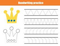 Handwriting practice sheet. Educational children game, printable worksheet for kids. Writing training printable worksheet. Triangl vector illustration
