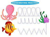 Handwriting practice sheet Educational children game, restore the dashed line. The Theme Of Mermaids vector illustration stock illustration