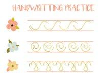 Free Handwriting Practice Sheet. Educational Children Game, Tracing Circles And Zig Zag. Writing Training Printable Worksheet Royalty Free Stock Image - 161169576