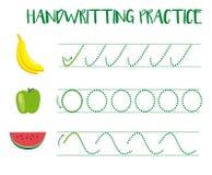 Free Handwriting Practice Sheet. Educational Children Game, Tracing Circles And Zig Zag. Writing Training Printable Worksheet Stock Image - 161169611