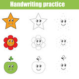 Handwriting practice sheet. Educational children game. Writing training. Connect the dots, restore the dashed line, vector illustration, printable worksheet Stock Photography