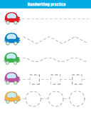 Handwriting practice sheet. Educational children game. Writing training, transportation theme. Connect the dots, restore the dashed line, vector illustration Royalty Free Stock Photos