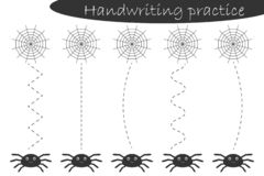 Handwriting practice sheet, halloween theme, cobweb and spiders, kids preschool activity, educational children game, printable wor stock illustration