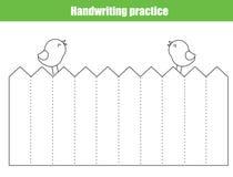 Handwriting praktyki prześcieradło Edukacyjna dziecko gra, printable worksheet dla dzieciaków Kalkowanie linie proste royalty ilustracja