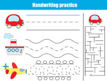 Handwriting praktyki prześcieradło Edukacyjni dzieci gemowi Obraz Royalty Free