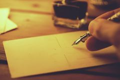 handwriting with quill pen and ink royalty free stock images