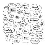 Handwriting  set of speech bubbles with dialog words. Hi, Love, Sorry, Welcome, Bye. Vector illustration. Hand drawn Stock Photography