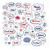 Handwriting  set of speech bubbles with dialog words Stock Images