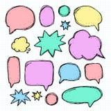 Handwriting set of speech bubbles Stock Image