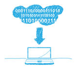 Handwriting sketch cloud computing Stock Image