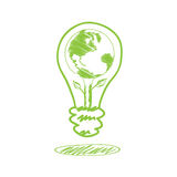 Handwriting sketch earth in the lamp Royalty Free Stock Photo