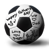 Handwriting on a soccerball for your father. Father's day concept Royalty Free Stock Photo