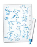 Handwriting style animal drawings Royalty Free Stock Photo