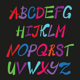 Handwriting stylish alphabet, hand drawn rounded alphabet, ABS Royalty Free Stock Photography