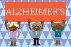 Handwriting tekst Alzheimer s jest Pojęcia znaczenia Postępowy umysłowy marnienie który może zdarzać się w wieku średnim royalty ilustracja