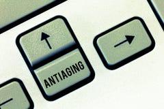 Handwriting tekst Antiaging Pojęcie znaczy A produkt projektującego zapobiegać pojawienie starego dostawać obrazy royalty free