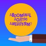 Handwriting tekst Brzuszny Aortic Aneurysmquestion Pojęcia znaczenie dostaje znać powiększenie aorty Hu analizy ręka wewnątrz royalty ilustracja