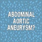 Handwriting tekst Brzuszny Aortic Aneurysmquestion Pojęcia znaczenie dostaje znać powiększenie Różnorodnego aorta royalty ilustracja