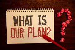 Handwriting tekst Co Jest Nasz planu pytaniem Pojęcia znaczenia misi Purpose agenda Strategize Brainstorming Czerwonawego papiero Zdjęcia Stock