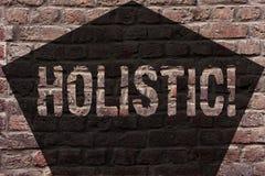 Handwriting tekst Holistyczny Pojęcia znaczenia wiara części coś jest łącząca Powiązana holism ściana z cegieł zdjęcie stock