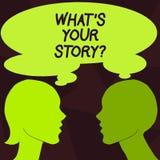 Handwriting tekst Jaki S Twój Storyquestion Pojęcia znaczenie Łączy Komunikuje łączliwość związek ilustracja wektor