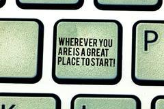 Handwriting tekst Jest Great Place Zaczynać Gdziekolwiek Ty Jesteś Pojęcia znaczenie Zaczyna dzisiaj jutro Klawiaturowego klucz zdjęcia royalty free