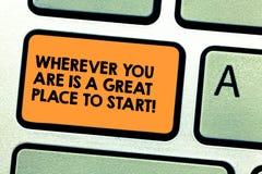 Handwriting tekst Jest Great Place Zaczynać Gdziekolwiek Ty Jesteś Pojęcia znaczenie Zaczyna dzisiaj jutro Klawiaturowego klucz zdjęcie royalty free