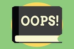 Handwriting tekst Oops Pojęcia znaczenie używać pokazywać rozpoznanie błędu lub nieletni wypadku przeprosiny ilustracji