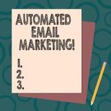 Handwriting tekst pisze Automatyzującym emaila marketingu Pojęcia znaczenia email wysyłał automatycznie lista pokazywać stertę ilustracja wektor