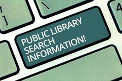 Handwriting tekst pisze biblioteki publicznej rewizji informacji Pojęcia znaczenie Bada projekta dochodzenia klawiaturę zdjęcie royalty free