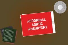 Handwriting tekst pisze Brzusznym Aortic Aneurysmquestion Pojęcia znaczenie dostaje znać powiększenie aorta royalty ilustracja