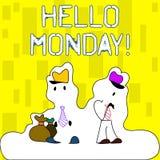 Handwriting tekst pisze cześć Poniedziałek Pojęcia znaczenie wskazuje zaczynać świeży nowy tydzień wita je z uśmiech postacią ilustracja wektor