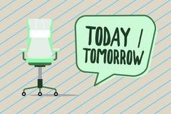 Handwriting tekst pisze Dzisiaj Jutro Pojęcia znaczenie Co, co przynosi zdarzamy się teraz i przyszłość obraz royalty free