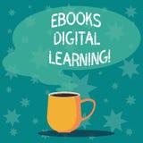 Handwriting tekst pisze Ebooks Cyfrowy uczenie Pojęcia znaczenia książki publikacja zrobił dostępny w cyfrowym formularzowym kubk royalty ilustracja
