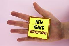 Handwriting tekst pisze nowy rok postanowieniach Pojęcia znaczenia celów cele Celują decyzje dla następnych 365 dni pisać dalej Obraz Stock