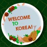 Handwriting tekst pisze powitaniu Korea Pojęcia znaczenie Przyjeżdża Azjatyckiego nowożytnego kraju kultury różna ręka Rysująca ilustracja wektor