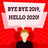 Handwriting tekst pisze walkowerze - walkower 2019 2020 Cześć Pojęcia znaczenie mówi ostatni rok i wita inny dobrych do widzenia ilustracja wektor