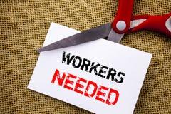 Handwriting tekst pokazuje pracowników Potrzebujących Konceptualna fotografii rewizja Dla kariera zasobów pracowników bezrobocia  Obrazy Stock