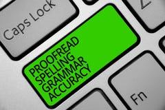 Handwriting tekst Proofread Literujący gramatyki dokładność Pojęcie znaczy Grammatically poprawnego Unika błąd klawiatury zieleni zdjęcia royalty free