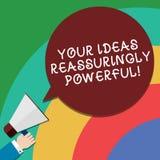 Handwriting tekst Twój pomysły Reassuringly Potężni Pojęcia znaczenia władzy tranquillity w twój myśli Hu analizy ręce ilustracja wektor