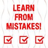 Handwriting tekst Uczy się Od błędów Pojęcia znaczenie utrzymuje ślad Wyginający się twój znacząco decyzji Pionowo ilustracji