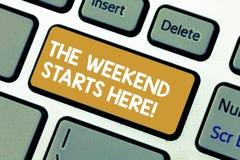 Handwriting tekst weekend Zaczyna Tutaj Pojęcia znaczenia finał tydzień zaczyna Piątku świętowania partyjną klawiaturę fotografia stock