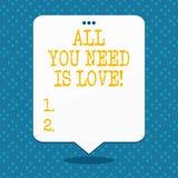Handwriting tekst Wszystko Jest miłością Ty Potrzebujesz Pojęcia znaczenia Głęboka afekcja potrzebuje docenienia roanalysisce ilustracja wektor