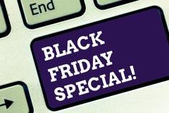 Handwriting teksta Black Friday dodatek specjalny Pojęcie znaczy dzień po dziękczynienie sprzedaży zakupy sezonu Szalonej klawiat zdjęcia stock