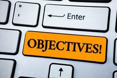 Handwriting teksta celów Motywacyjny wezwanie Pojęcia znaczenia cele planujący dokonującymi Pragnęli cele pisać na pomarańcze klu Obrazy Stock