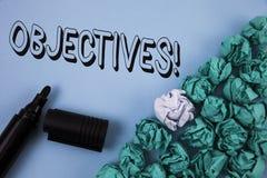 Handwriting teksta celów Motywacyjny wezwanie Pojęcia znaczenia cele planujący dokonującymi Pragnęli cele pisać na Prostym błękic Zdjęcia Royalty Free