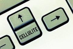 Handwriting teksta celulitisy Pojęcie znaczy Wytrwałego podskórnego sadło powoduje dimpling skóra zdjęcia stock