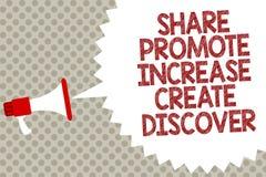 Handwriting teksta część Promuje wzrost Tworzy Odkrywa Pojęcia znaczenia inspiraci motywaci megafonu głośnika Marketingowy sp ilustracja wektor