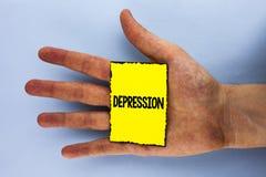 Handwriting teksta depresja Pojęcia znaczenia pracy stres z bezsennymi nocami ma niepokoju nieład pisać na Żółty Kleisty Żadny fotografia stock