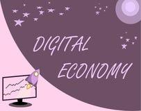 Handwriting teksta Digital gospodarka Pojęcie znaczy na całym świecie sieć działalność gospodarcza i technologie royalty ilustracja